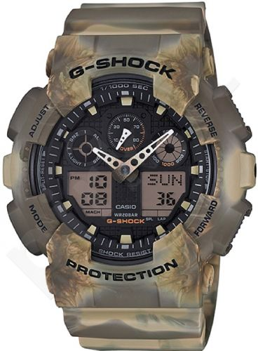 Laikrodis CASIO G-SHOCK GA-100MM-5ADR CAMO MARBLE Limited Edition Shock & Magnetic resistant Auto led World time 29 zon 4 daily s Snooze Hourly Time Signal Countdown Timer Full auto-calendar