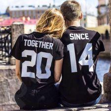 """Marškinėlių komplektas """"Together Since"""" su pasirinktais metais"""