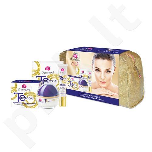Dermacol Time Coat intensyvus veido priežiūros rinkinys moterims, (50ml Time Coat intensyvus dieninis kremas SPF20 + 15ml Time Coat intensyvus akių&lūpų kremas + 2x8g Time Coat intesyvi kaukė + krepšys)