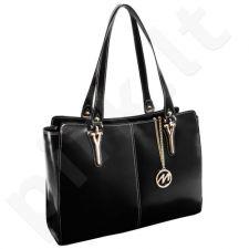 Eksliuzyvinė odinė rankinė moteriška, juoda Mcklein Glenna 97545