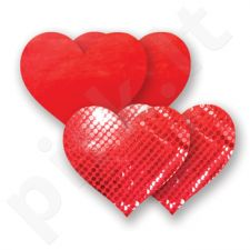 Nippies - Basic Black Heart - Širdelės, lipdukai krūtims raudoni