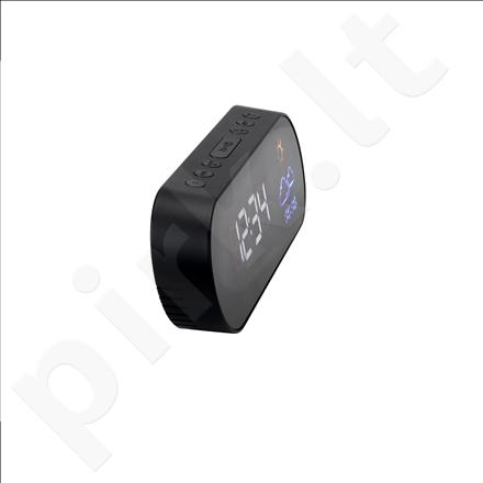 AudioSonic CL-1489 Clock Radio, Weather indication, FM radio, Dual alarm, Black