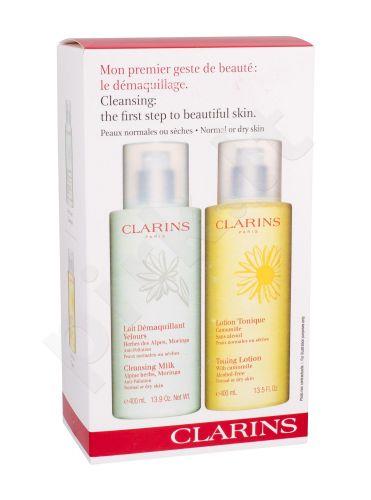 Clarins Cleansing Milk With Alpine Herbs, rinkinys prausiamasis pienelis moterims, (prausiamasis pienelis 400 ml + prausiamasis vanduo valomasis losjonas 400 ml)