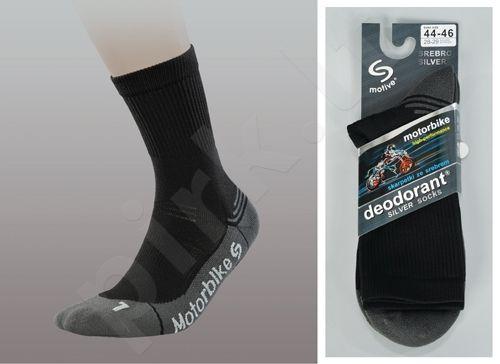MOTORBIKE DEODORANT® SILVER motociklininkų trumpos kojinės iš PROLEN® SILTEX pluošto su sidabro jonais, kovojančios su nemaloniu kvapu, sulaikančios šilumą