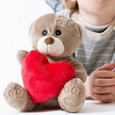 Pliušinis meškiukas su širdele