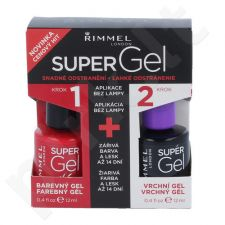 Rimmel London Super gelis By Kate Duo Kit rinkinys moterims, (12ml Super gelis By Kate + 12 ml Super gelis Top Coat) , (041 Darling Dahlia)