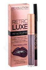 Makeup Revolution London Metallic Lip Kit, Retro Luxe, rinkinys lūpdažis moterims, (Liquid lūpdažis 5,5 ml + Lip Contour Pencil 1 g), (The Rebellion)