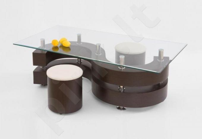 Stačiakampis kavos staliukas NINA 2 su pufais