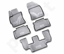 Guminiai kilimėliai 3D TOYOTA Verso 2009-2013, 5 pcs., 3rows /L62094G /gray