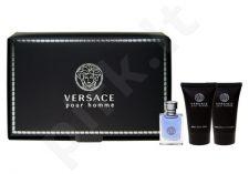Versace (EDT 5 ml + 25 ml dušo želė + 25 ml balzamas po skutimosi) Pour Homme, rinkinys vyrams