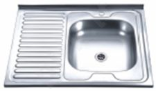Nerūdijančio plieno plautuvė D8060A kairė uždedama su sifonu