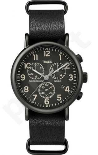 Laikrodis TIMEX  WEEKENDER - STAINLESS STEEL - leather - chronografasgrafas - INDIGLO - - 3 ATM