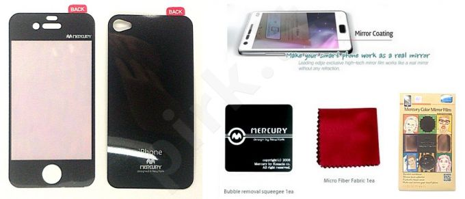 Apple iPhone 4 ekrano plėvelė  MIRROR Mercury juoda
