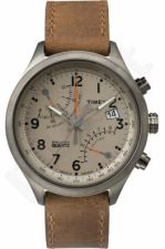 Laikrodis TIMEX  T SERIES FLY BACK - STAINLESS STEEL - leather - chronografasgrafas - INDIGLO - kvarcinis - - WR 3 ATM