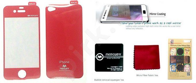Apple iPhone 4 ekrano plėvelė  MIRROR Mercury raudona