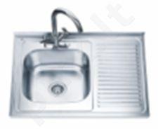 Nerūdijančio plieno plautuvė D8060P dešinė uždedama su sifonu
