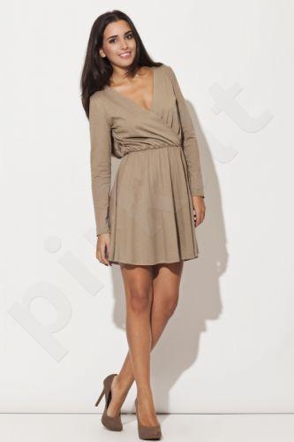 Suknelė K116 rudos ir smėlio atspalvių