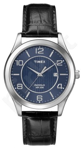 Laikrodis TIMEX  CLASSIC - STAINLESS STEEL - leather - kvarcinis - INDIGLO- - WR 3 ATM