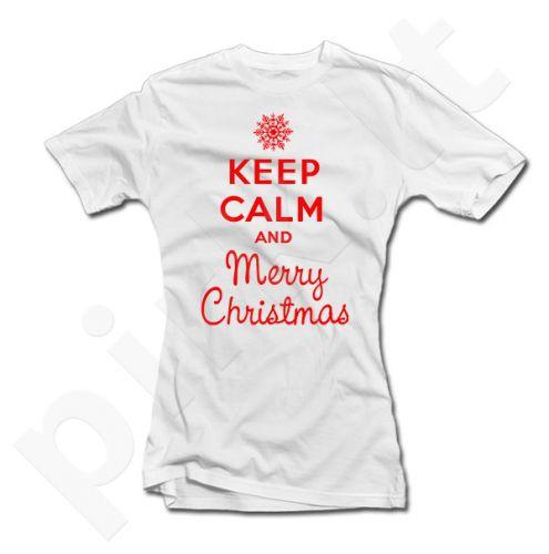 """Moteriški marškinėliai """"Keep calm Merry Christmas"""""""