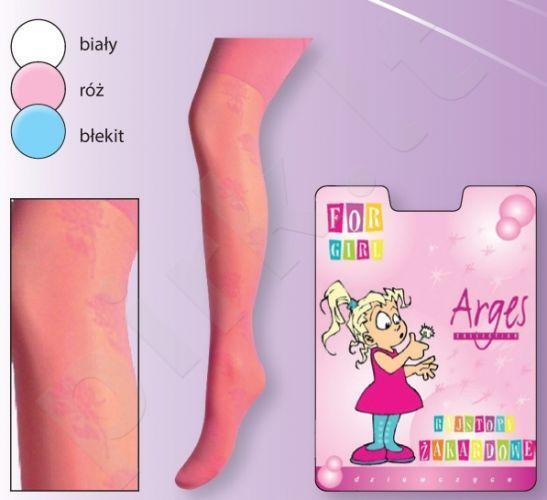 Raštuotos plonos pėdkelnės su elastanu mergaitėms (rožinė)