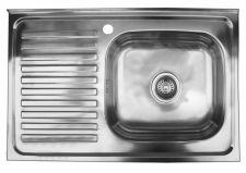 Nerūdijančio plieno plautuvė 8050 kairė uždedama su sifonu