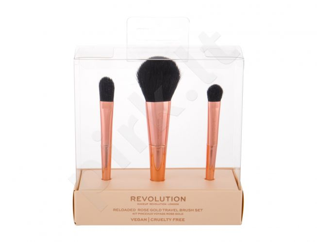 Makeup Revolution London Re-loaded, rinkinys šepetėlis moterims, (Reloaded Rose Gold Travel Brush Set, 3 pcs)