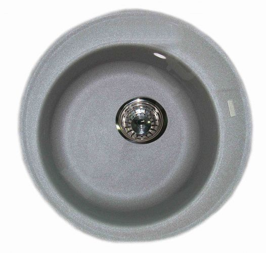 Granitinė plautuvė ROUND 2 grey su sifonu
