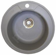 Granitinė plautuvė ROUND 2 light  grey su sifonu