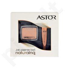 Astor Lash Beautifier Volume  With Argan Oil kosmetikos rinkinys moterims, (10ml Lash Beautifier Volume blakstienų tušas With Argan Oil + 7g Skin Match pudra 100 Ivory) , (800 Black)[pažeista pakuotė]