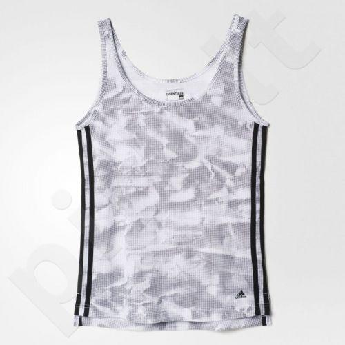 Marškinėliai treniruotėms Adidas Essentials 3 Stripes Paper Print W AJ4680