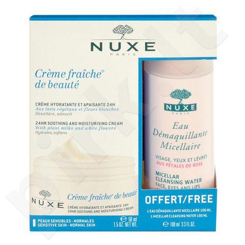 Nuxe Creme Fraiche 24hr Soothing kremas Normal Skin rinkinys moterims, (50ml Creme Fraiche 24hr Soothing kremas Normal Skin + 100ml Micellar Cleansing Water)