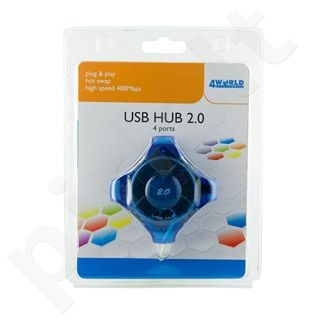 4World HUB USB 2.0 4 portai, pasyvus