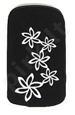 06 baltas FLOWER universalus dėklas i9100 Telemax juodas