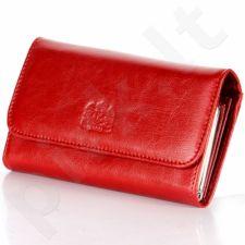 P14 raudona piniginė iš natūralios odos, moterims