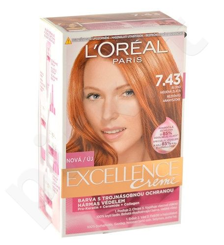 L´Oreal Paris Excellence Creme Hair Colour, kosmetika moterims, 1vnt, (7,43 Dark Copper Gold Blonde)