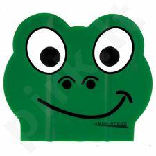 Maudymosi kepuraitė  Aqua-Speed lateksinė ZOO Frog Junior žalia
