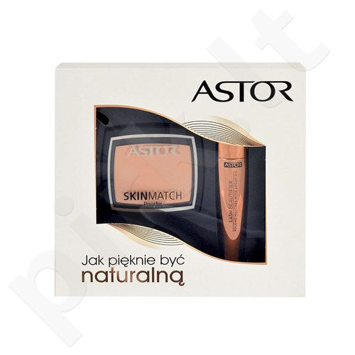 Astor Lash Beautifier Volume blakstienų tušas With Argan Oil Kit rinkinys moterims, (10ml Lash Beautifier Volume blakstienų tušas With Argan Oil + 7g Skin Match pudra 100 Ivory) , (800 Black)