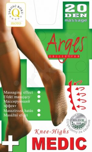 Vienspalvės neveržiančios blauzdų ir su profilaktinių pėdų masažu)  puskojinės MEDIC 20 denų storio (juoda)