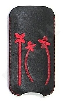 16-C raudonas FLOWER universalus dėklas X1-01 Telemax juodas