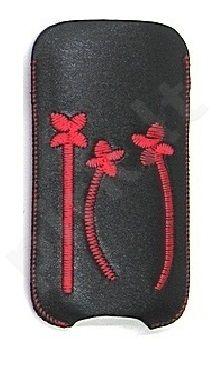 16-C raudonas FLOWER universalus dėklas S5570 Telemax juodas