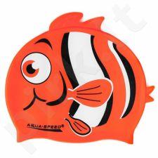 Maudymosi kepuraitė  Aqua-Speed silikoninė   ZOO Nemo Junior oranžinis