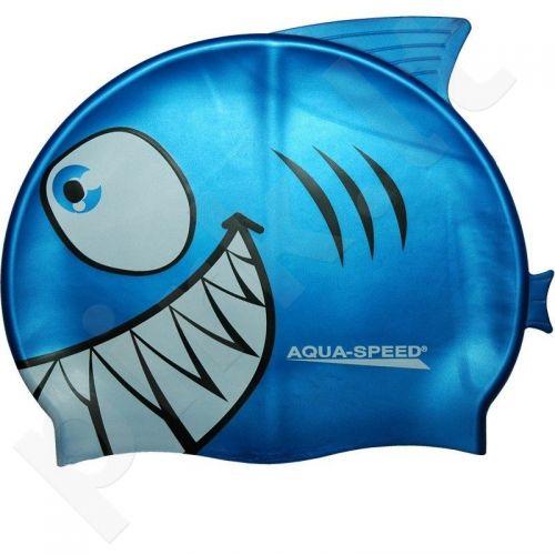 Maudymosi kepuraitė  Aqua-Speed silikoninė   SHARK Junior mėlynas