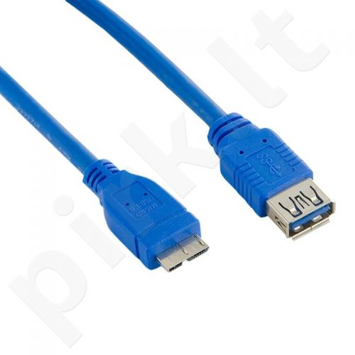 4World Kabelis USB 3.0 AF- Micro BM 1.5m| mėlynas
