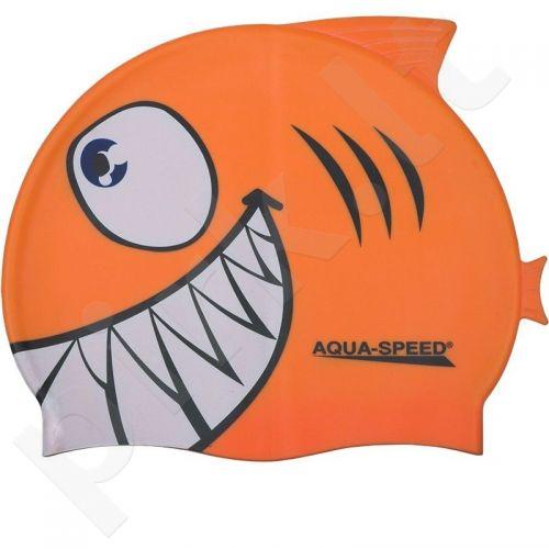 Maudymosi kepuraitė  Aqua-Speed silikoninė   SHARK Junior oranžinis