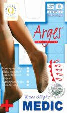 Vienspalvės neveržiančios blauzdų ir su profilaktinių pėdų masažu)  puskojinės MEDIC 50 denų storio (tamsiai ruda)