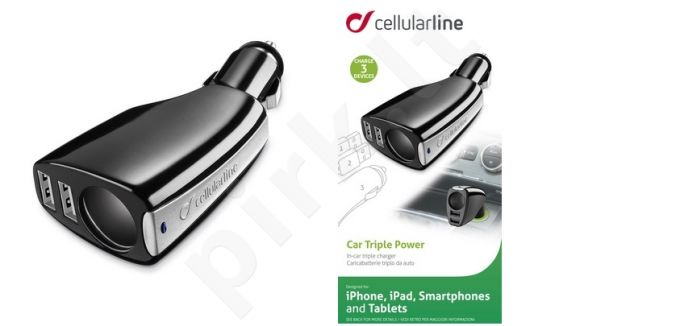 automobilinis įkroviklis universalus TRIPLE POWER  Cellular juodas