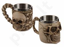 Dekoruotas kaukolėmis puodelis