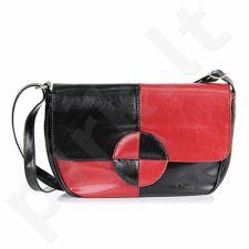 DAN-A T121A rankinė, odinė, moterims   juoda/raudona