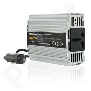 Whitenergy Inverteris AC/DC 12V (automobilis) 230V, 200W USB jungtis