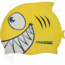 Maudymosi kepuraitė  Aqua-Speed silikoninė   SHARK Junior geltonas